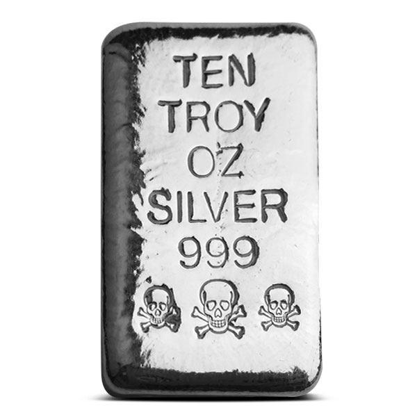 10 oz Atlantis Mint Skull and Crossbones Poured Silver Bar