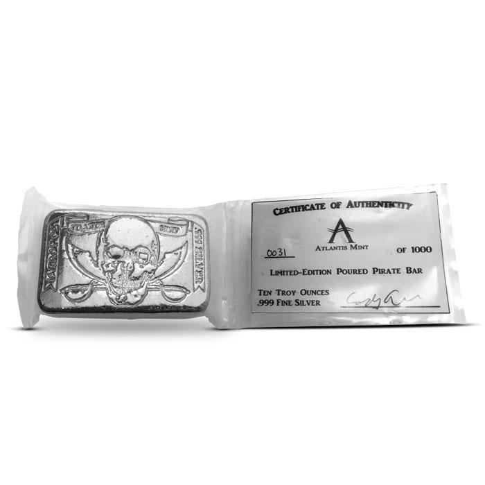10 oz Pirate Poured Silver Bar   Atlantis Mint