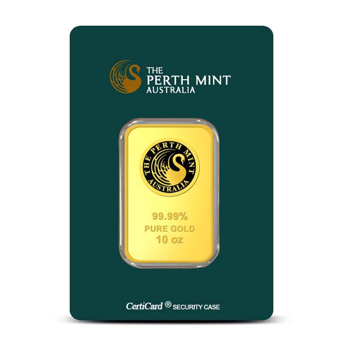 10 oz Perth Mint Gold Bar | .999 Fine Gold Obverse