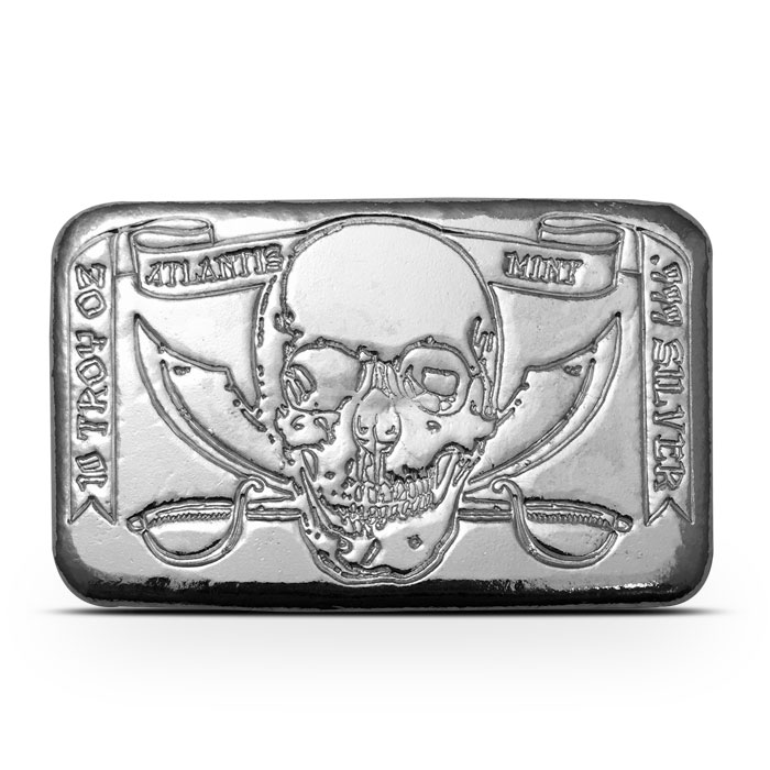 10 oz Atlantis Mint Pirate Poured Silver Bar