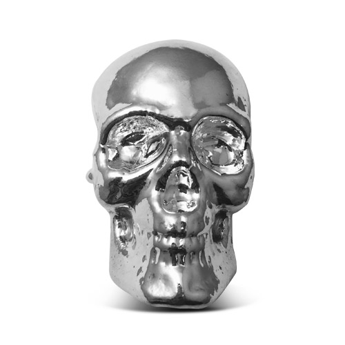 Yeager 10 oz Poured Silver Skull