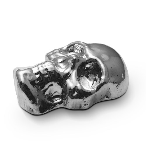 10 oz Poured Silver Skull | Yeager Poured Silver