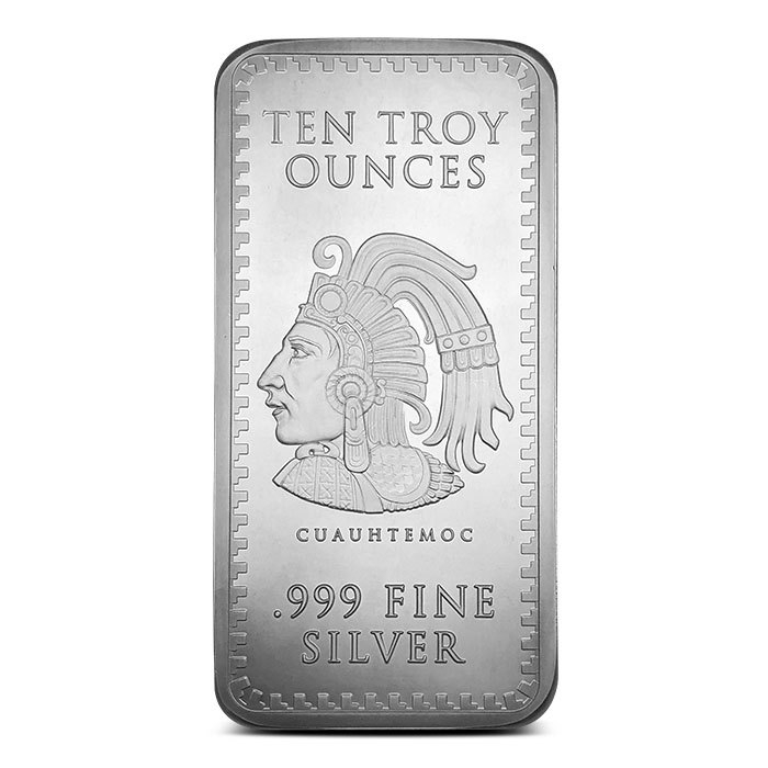 10 oz Silver Aztec Calendar Bar Back