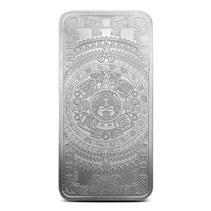 10 oz Silver Aztec Calendar Bar Front