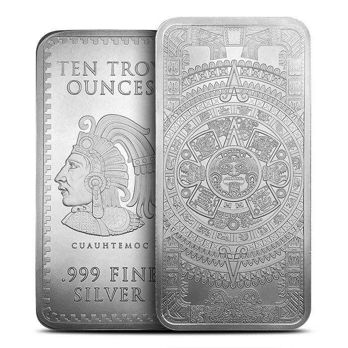10 oz Silver Aztec Calendar Bar