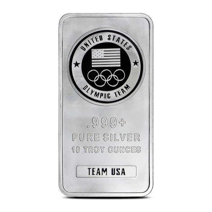 10 oz Silver Team USA Olympic Bar Front