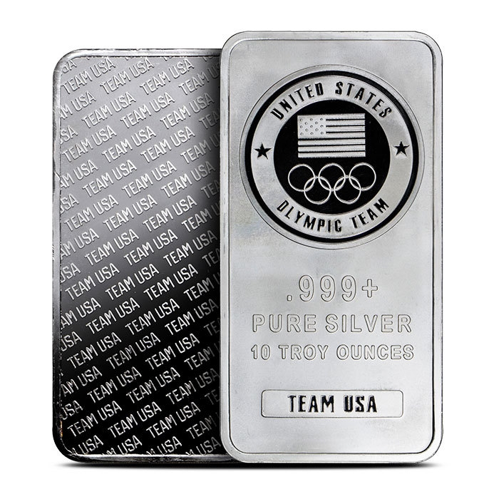 10 oz Silver Team USA Olympic Bar Front & Back