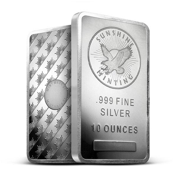 10 oz Silver Sunshine Bar   Mintmark SI
