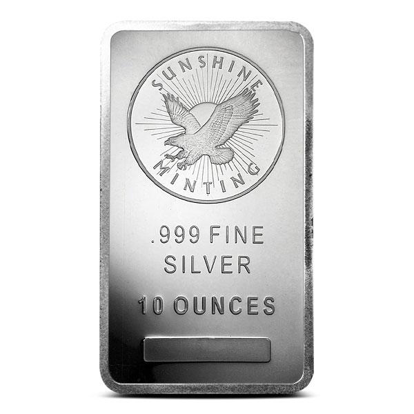 10 oz Sunshine Silver Bar   Mintmark SI