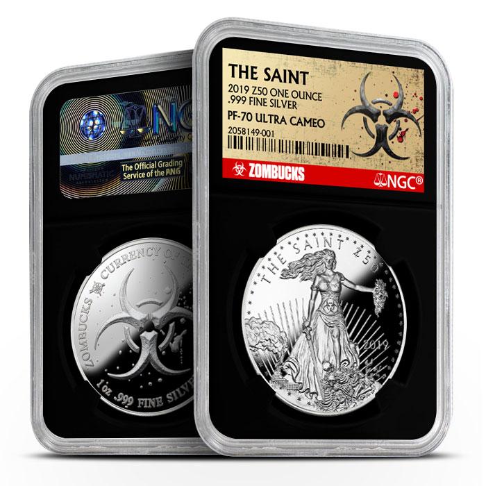 Zombucks Saint 1 oz Silver Proof NGC PF70 | Black Core