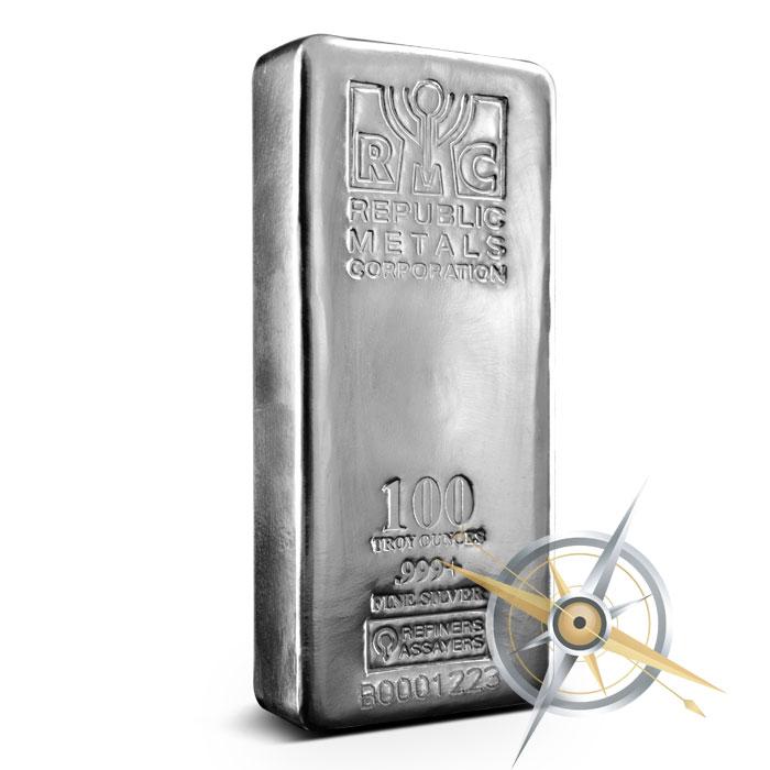 100 oz Cast Silver Bar | Republic Metals Corporation