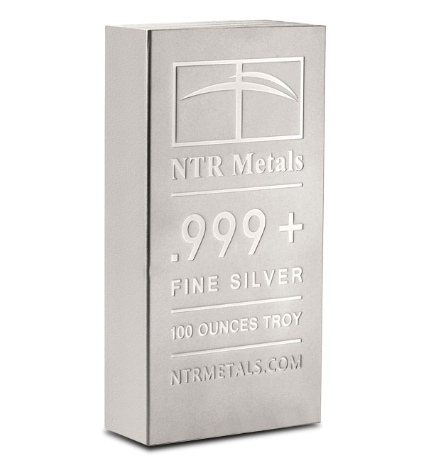100 oz NTR Metals .999 Fine Silver Bar