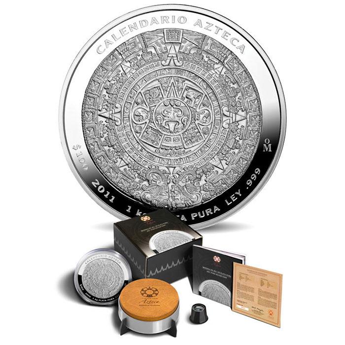 2011 Mexican Aztec Calendar 1 Kilo Silver Coin