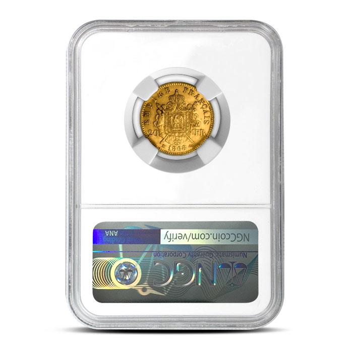 France Gold 20 Franc | Napoleon Laureate NGC AU