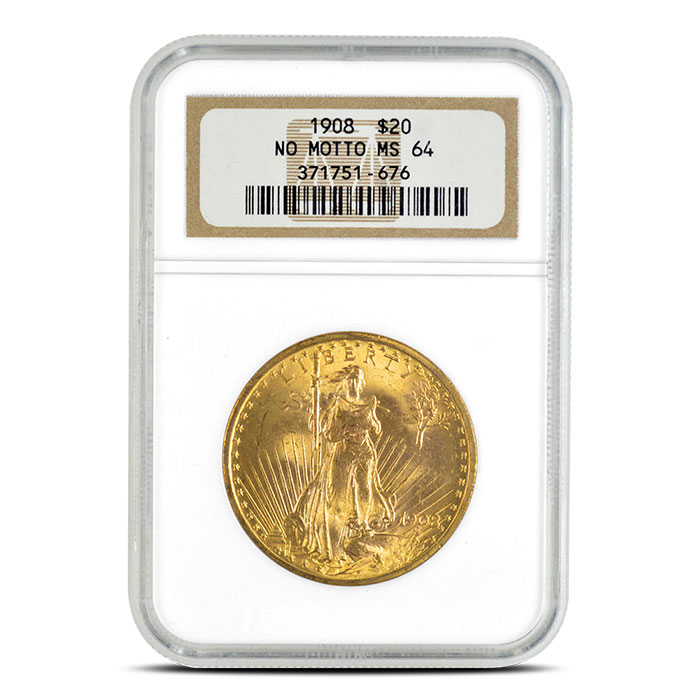 1908 No Motto $20 Gold Saint Gaudens NGC MS64