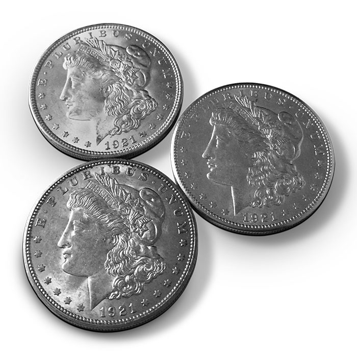 1921 Morgan Silver Dollar P,D,S Mint Set