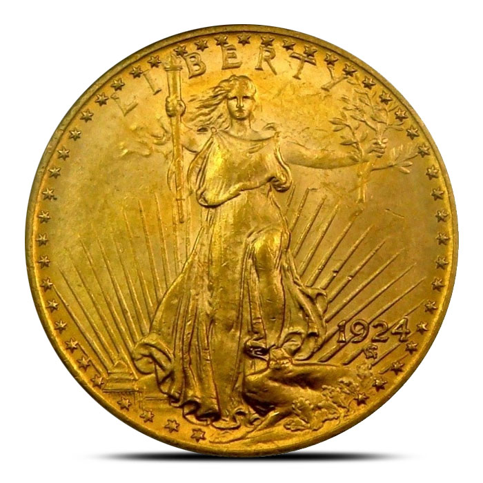 $20 Saint Gaudens PCGS MS64 Gold Double Eagle Coin Obverse