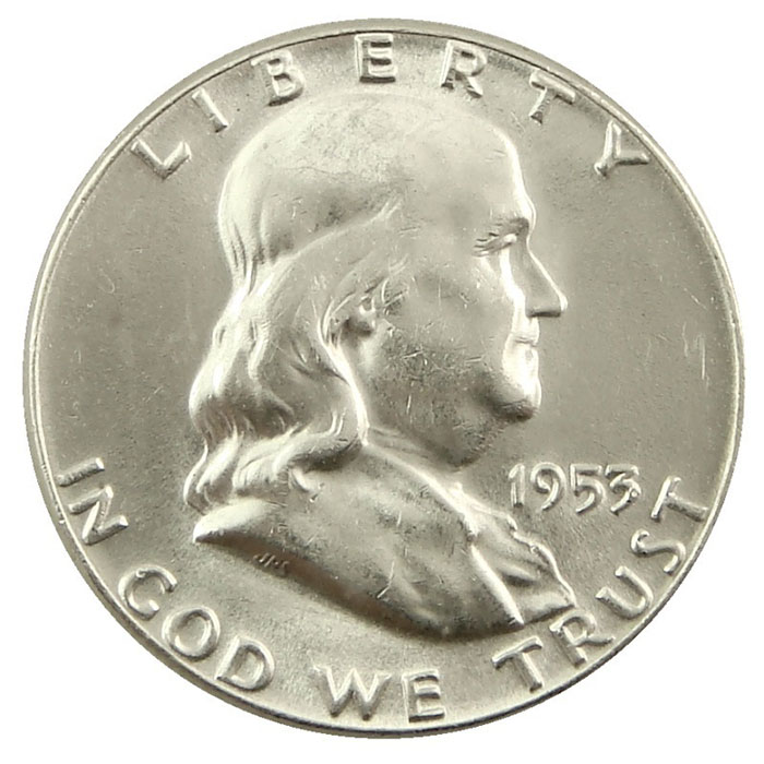 1953 P Franklin Half Dollar Coin Obverse