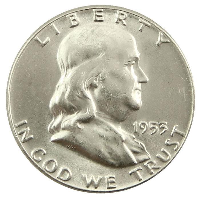 1953 S Franklin Half Dollar Coin Obverse
