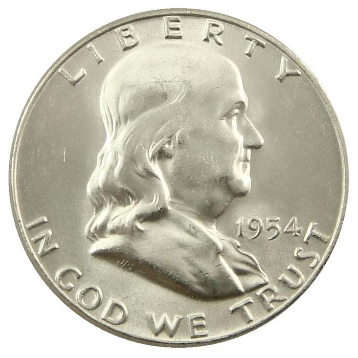 1954 S Franklin Half Dollar Coin Obverse