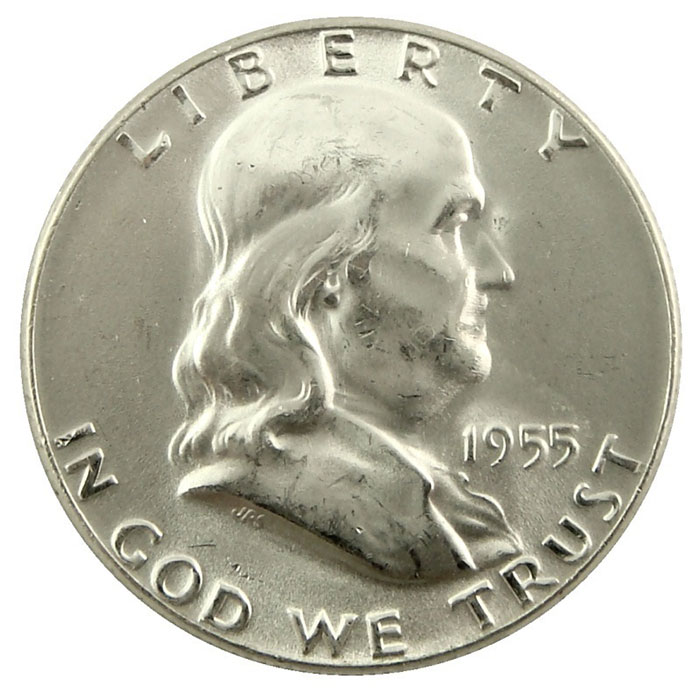 1955 P Franklin Half Dollar Coin Obverse