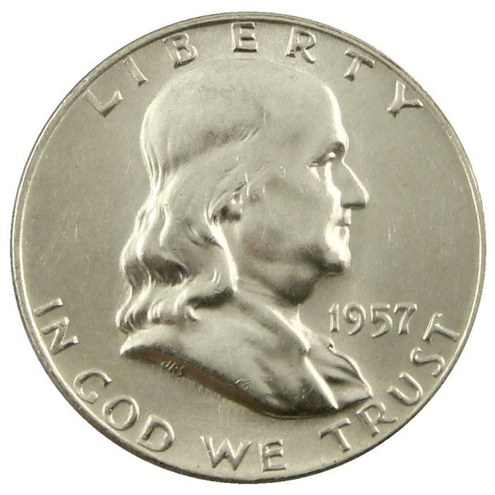 1957 D Franklin Half Dollar Coin Obverse