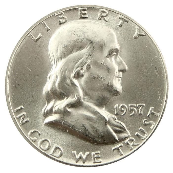 1957 P Franklin Half Dollar Coin Obverse