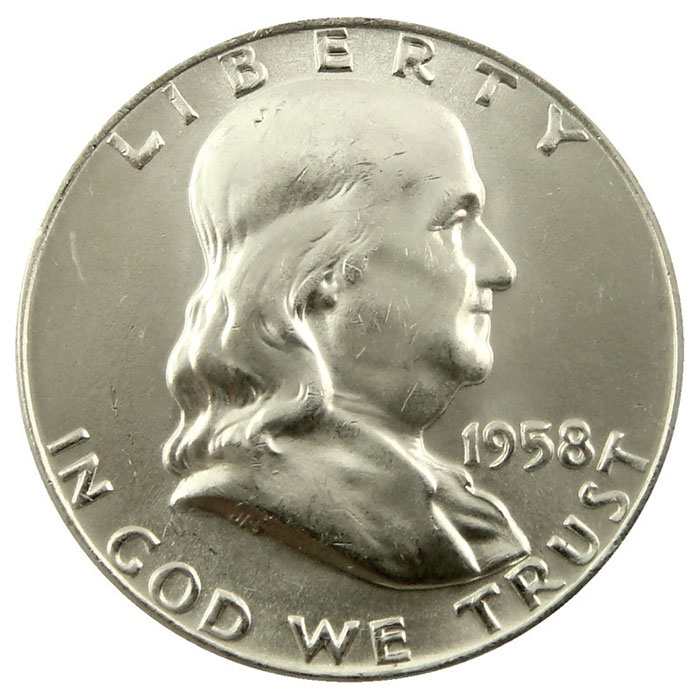 1958 P Franklin Half Dollar Coin Obverse