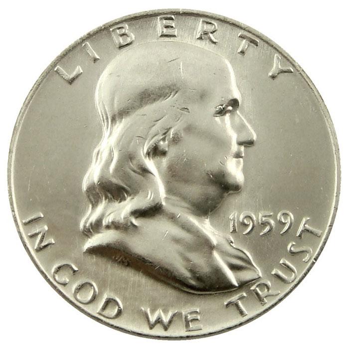 1959 D Franklin Half Dollar Coin Obverse