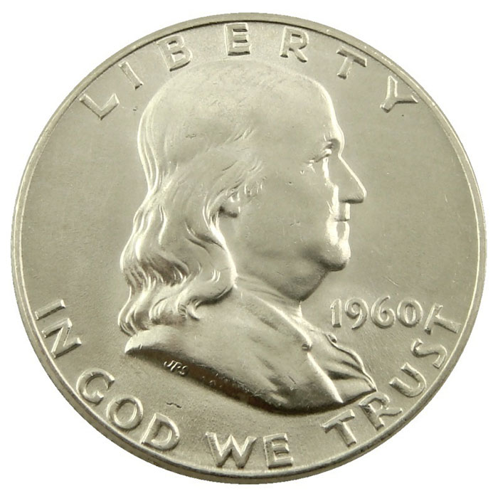 1960 D Franklin Half Dollar Coin Obverse