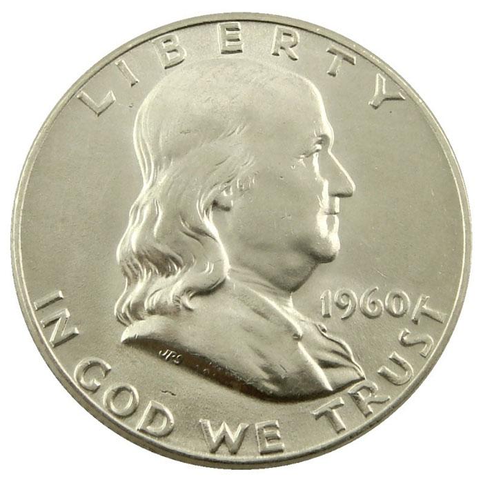 1960 P Franklin Half Dollar Coin Obverse