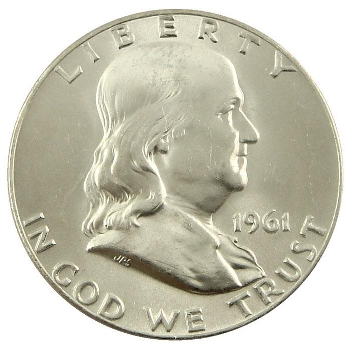 1961 P Franklin Half Dollar Coin Obverse