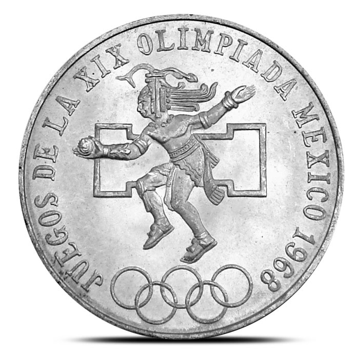 1968 Mexican 25 Pesos Olympic Silver Coin Obverse