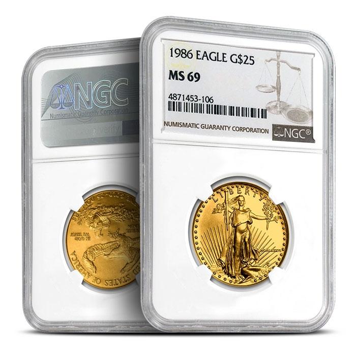 1986 1/2 oz American Gold Eagle   NGC MS69
