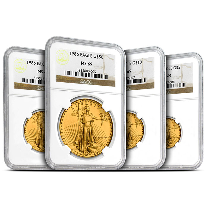 1986 American Gold Eagle 4 Coin Set | NGC69