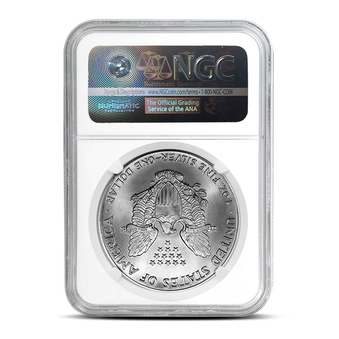 NGC MS69 1986 American Silver Eagle Coin Reverse