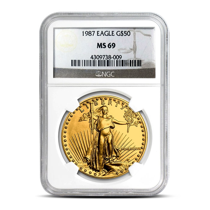 1987 1 oz Gold American Eagle   NGC MS69