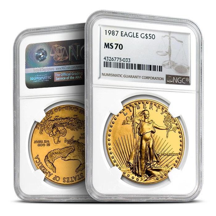 1987 1 oz Gold American Eagle | NGC MS70