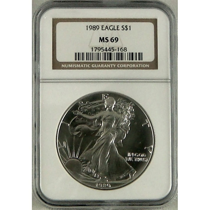 NGC MS69 1989 American Silver Eagle Coin Obverse