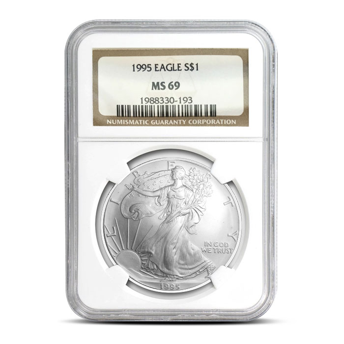 NGC MS69 1995 American Silver Eagle Coin Obverse