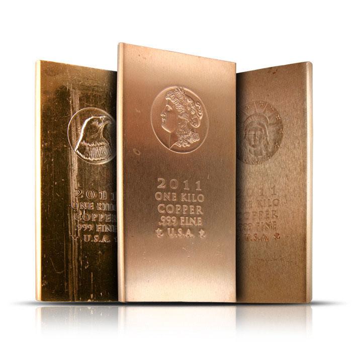 1 Kilo .999 Fine Copper Bars