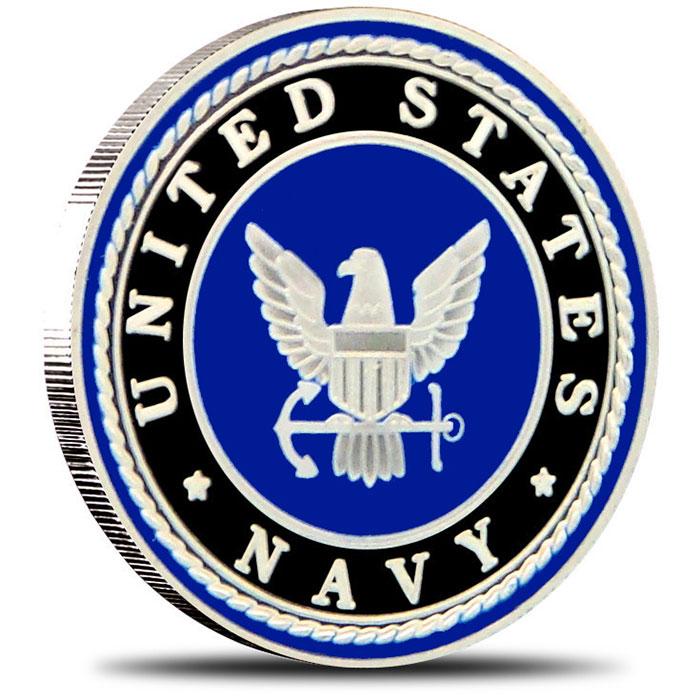 US Navy Enameled 1 oz Silver Round Obverse