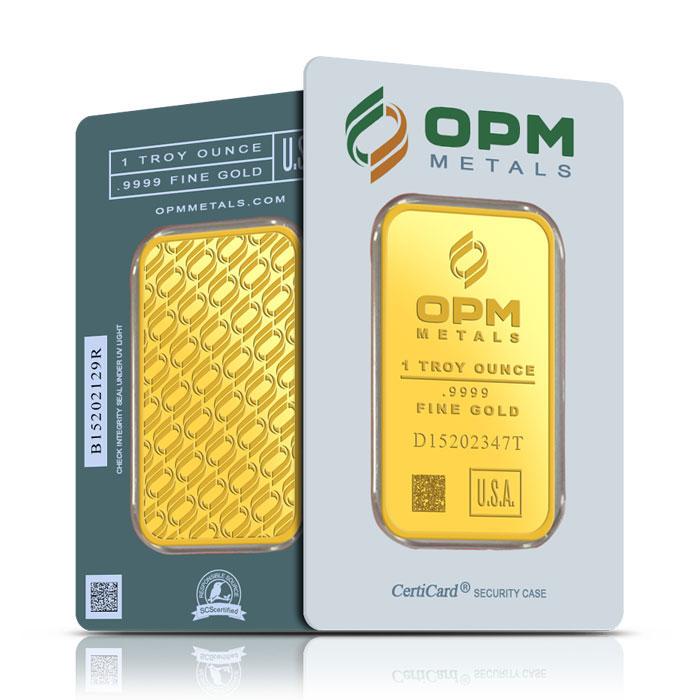 OPM 1 oz Gold Bar in CertiCard