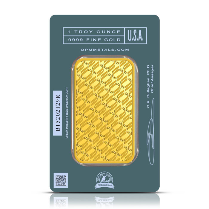 OPM One Ounce Gold Bar Back