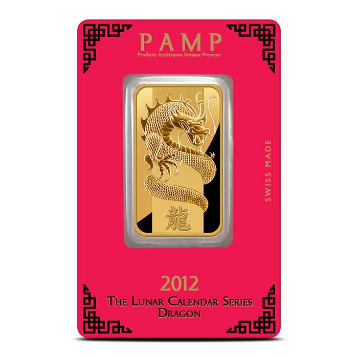 2012 PAMP Suisse 1 oz Lunar Dragon Gold Bar Front