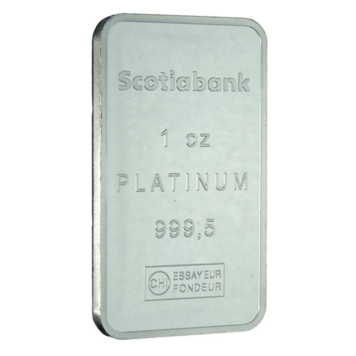 1 oz Scotiabank .9995 Fine Platinum Bullion Bar Reverse