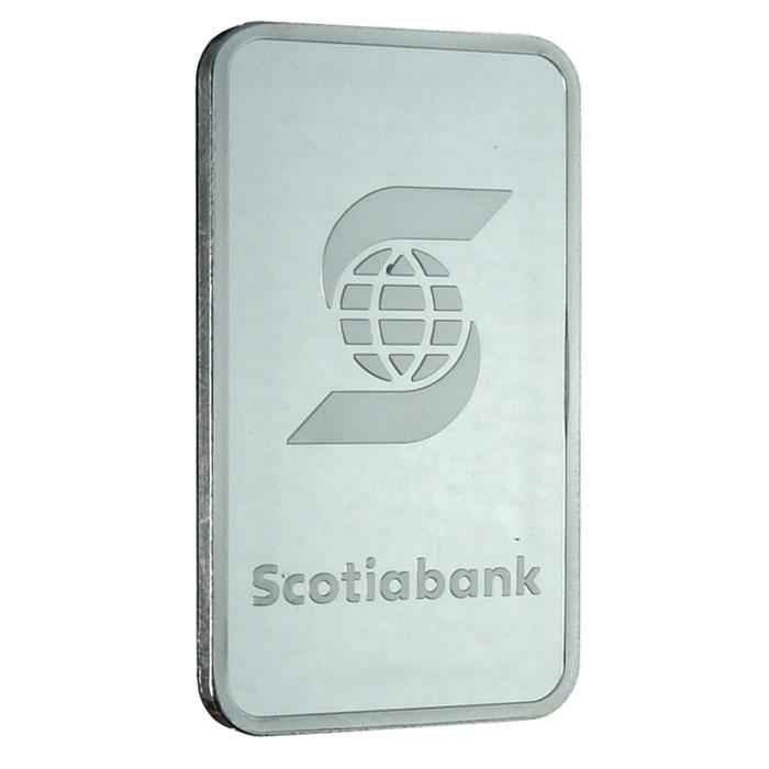 1 oz Scotiabank .9995 Fine Platinum Bullion Bar Front