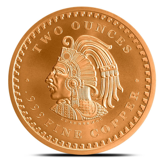 2 oz Copper Aztec Calendar Back