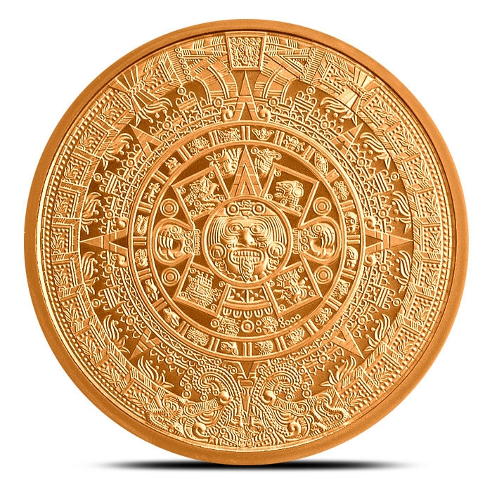 2 oz Copper Aztec Calendar Front
