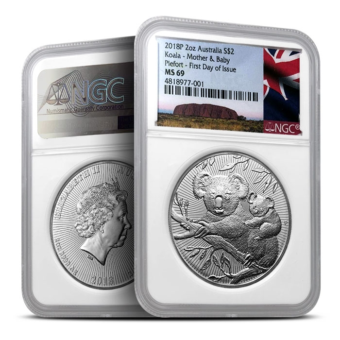 2018 Australian 2 oz Koala | NGC MS69 First Day of Issue